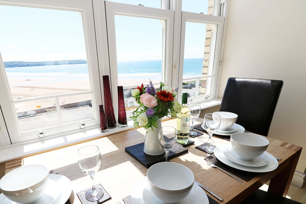 Ocean View Woolacombe Holiday Cottage Table With View