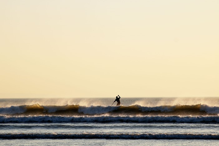 Croyde Bay Beach Paddle Boarder On Waves