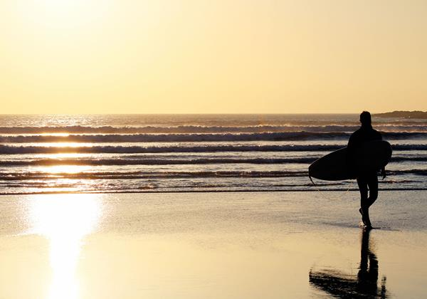 Croyde Bay Beach Surfer In Sunset