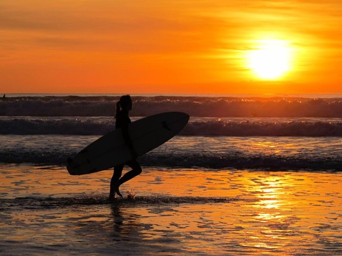Surfer Waves And Sunset